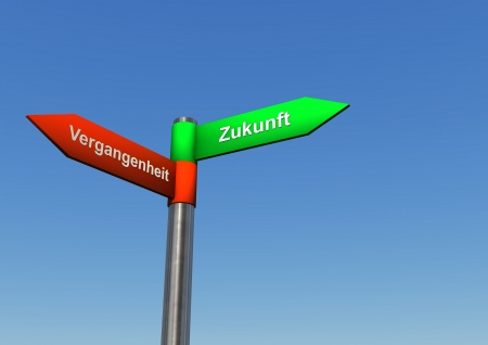 replacing: Signpost with two directions with german text vergangenheit, and zukunft, translate past and future. Stock Photo