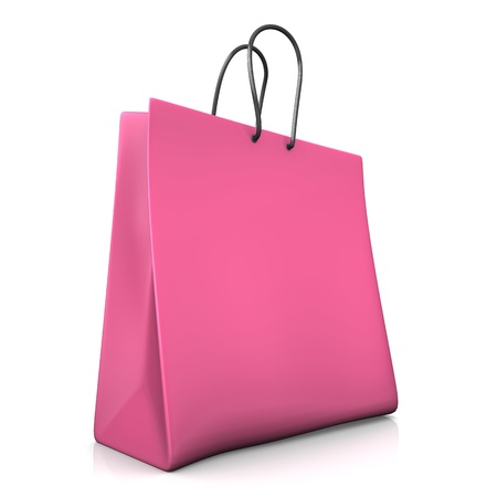 A pink shopping bag on the white background. photo