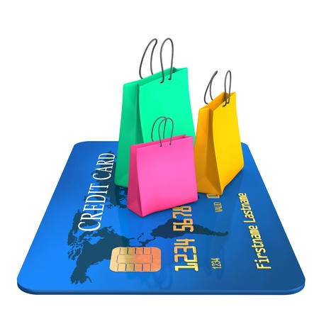 style wealth: Blue credit card with three colorful shopping bags. Stock Photo