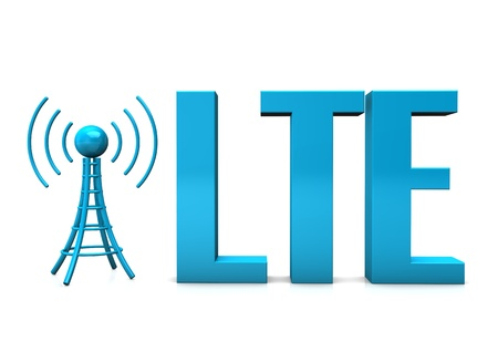 4g: Blue text LTE with blue antenna on the white background. Stock Photo
