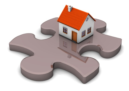 A house on the grey puzzle. White background. photo