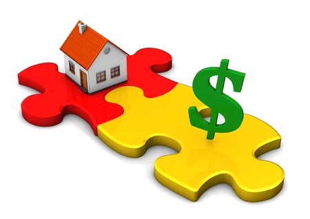 A house with two puzzle pieces and green symbol of dollar. Stock Photo - 18702989