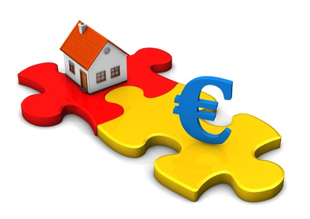 greenbacks: A house with two puzzle pieces and blue symbol of euro.
