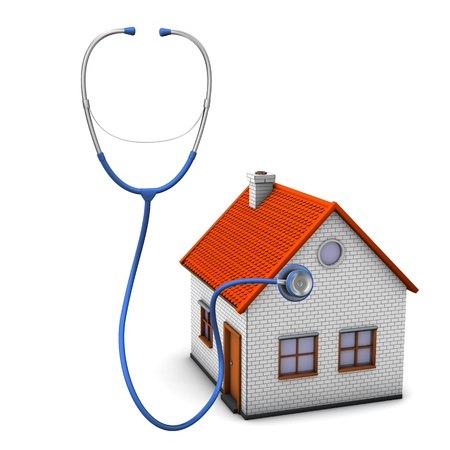 House with stethoscope on the white background. photo