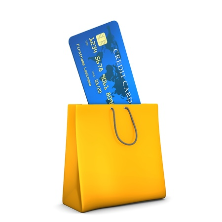 A shopping bag with blue credit card. Stock Photo - 18703002
