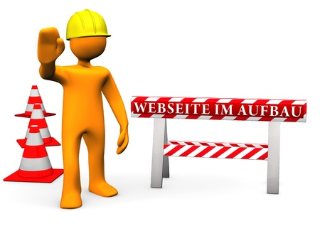 manual workers: Orange cartoon character on site with german text Webseite im Aufbau translate website under construction.