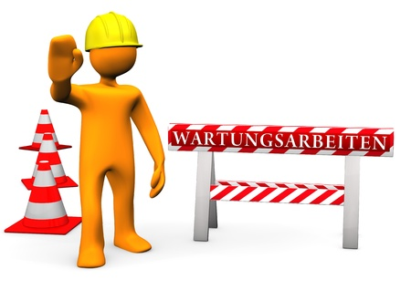 Orange cartoon character on site with german text 'Wartungsarbeiten' translate 'maintenance'. photo