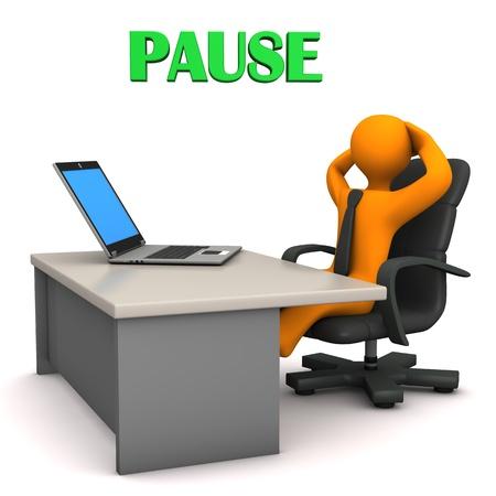 """Oranje stripfiguur in het kantoor met Duitse tekst """"Pauze"""" vertalen """"Break"""". Stockfoto"""