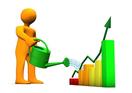 market gardener: Orange cartoon with watering can and colorful chart. Stock Photo