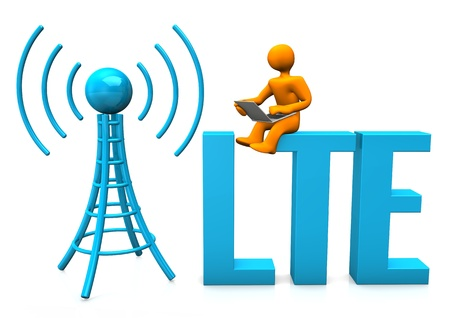 Orange cartoon character with laptop, antenna and blue text LTE.