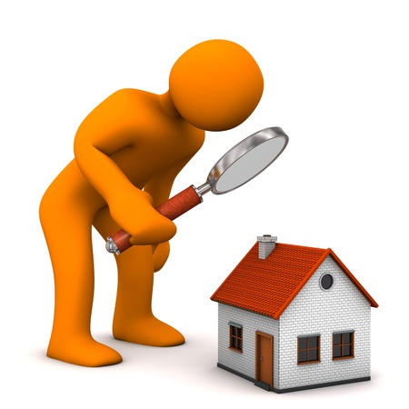 Orange cartoon character with loupe and house. Stock Photo
