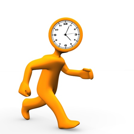 delay: Orange cartoon character runs with clock in the head.