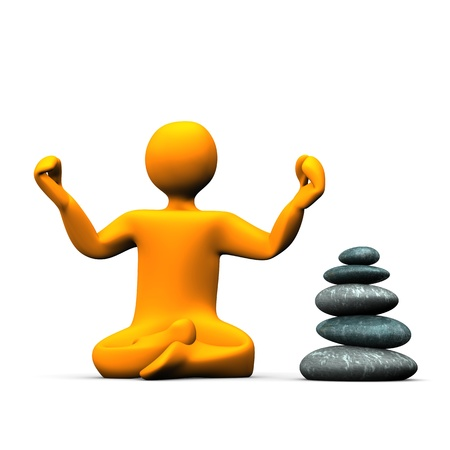 Orange cartoon character makes yoga. White background with pyramid of stones. photo