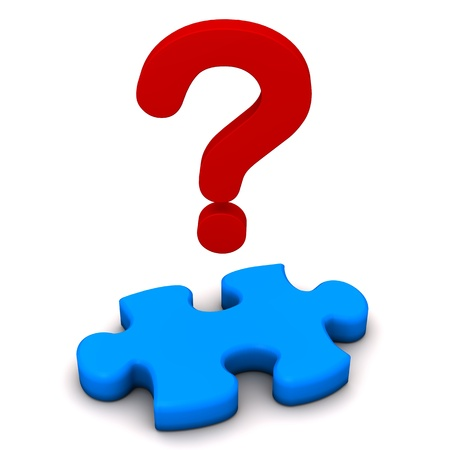 questionable request: Blue puzzle with red question mark. White background. Stock Photo