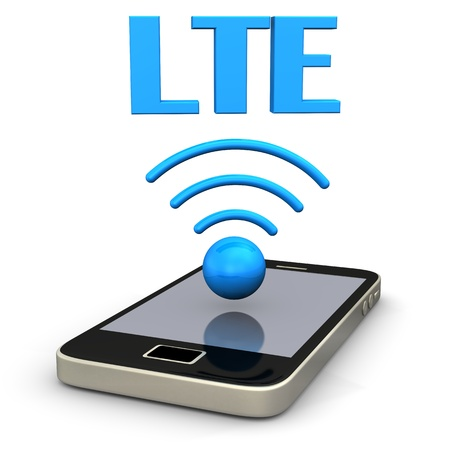 lte: Smartphone with radio symbol and blue text LTE  Stock Photo