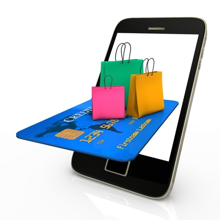 e commerce: Smartphone with credit card and colorful shopping bags