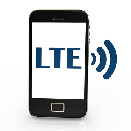 lte: Smartphone with blue text LTE and radio symbol  Stock Photo
