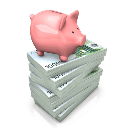 Pink piggy bank with euro notes on the white background