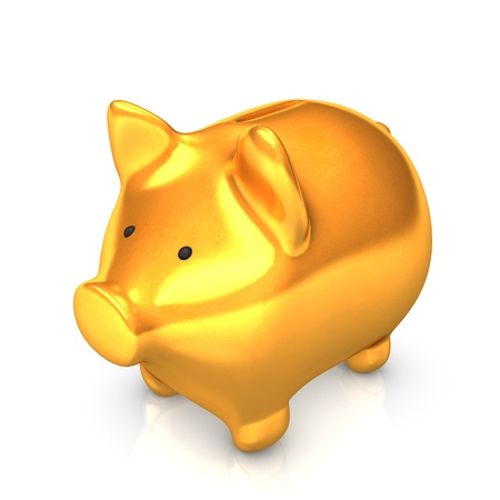 Golden piggy bank on the white background  Stock Photo