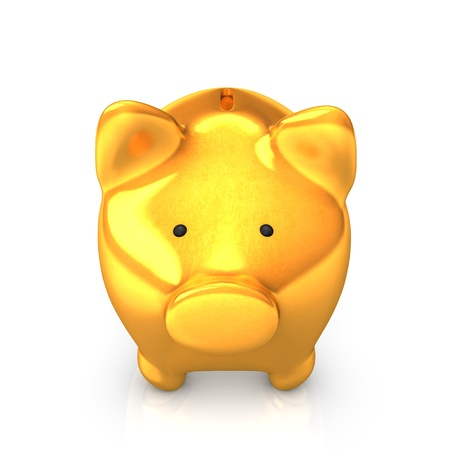 accountig: Golden piggy bank on the white background  Stock Photo