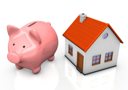 Pink piggy bank with a house on teh white background