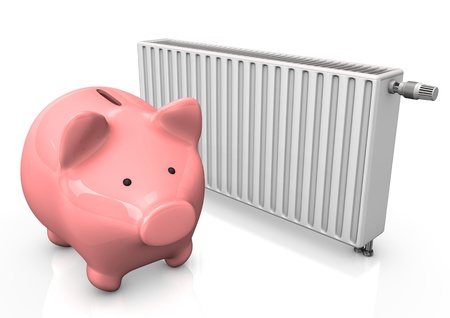 Pink piggy bank with radiator on the white backround  photo