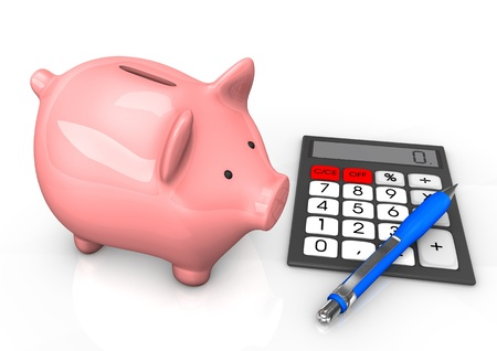 accountig: Piggy bank with calculator and blue ballpen