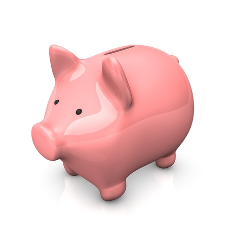 Pink piggy bank on the white background Stock Photo - 18702974