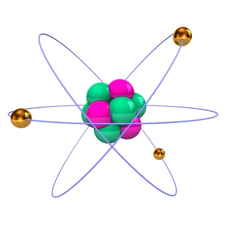 neutrons: Atom with golden electrons, purple protons and green neutrons