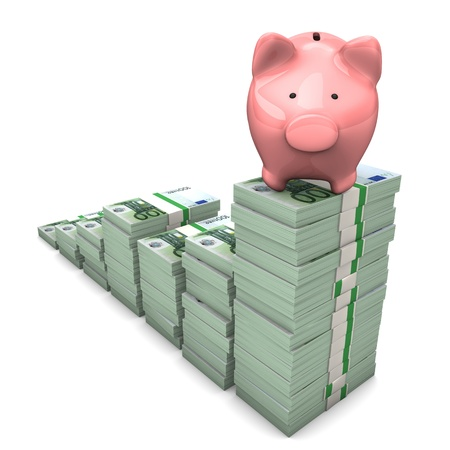 Pink piggy bank with euro chart on the white background. Stock Photo - 18842913