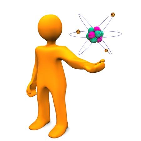 Orange cartoon Charakter mit Atom auf dem weißen Hintergrund.