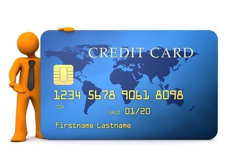 Businessman with blue credit card on the white background. photo