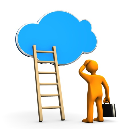 Orange cartoon character with ladder and cloud on the white background. Stock Photo - 18842862