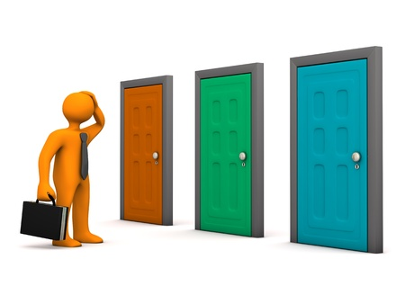 closed door: Orange businessman with three colorful doors. White background.