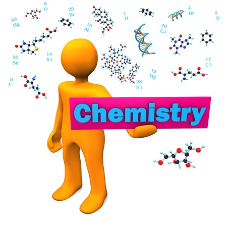 Orange cartoon character with molecule and text chemistry. photo