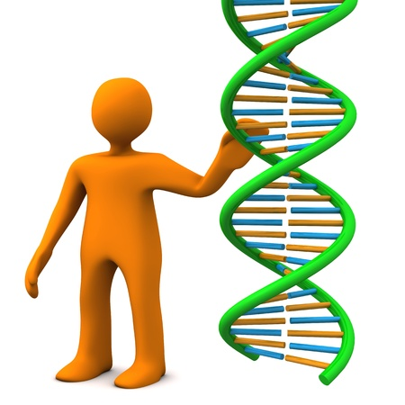 Orange cartoon character with dna on the white background. Stock Photo - 18842910