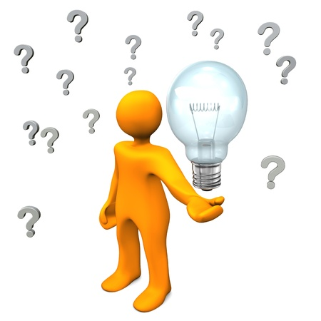 Orange cartoon character with question marks and big bulb. photo
