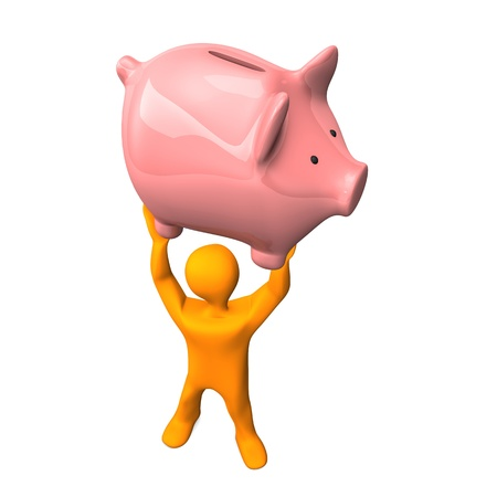 Orange cartoon character lifts up the piggy bank.