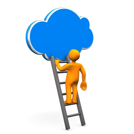 Orange cartoon characterr on ladder with cloud. White background. photo