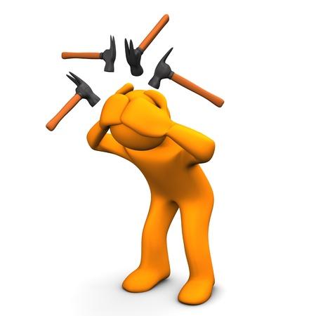 Personaje de dibujos animados de Orange tiene dolores de cabeza. Fondo blanco.