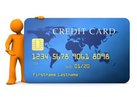 Orange cartoon character with blue creditcard. White background. photo