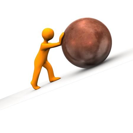 shove: Orange cartoon character with big copper sphere. Stock Photo
