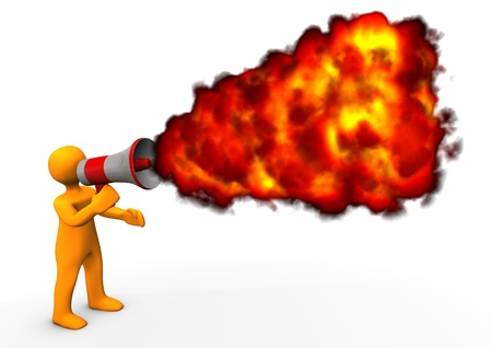 organise: Orange cartoon character with megaphone and fire.