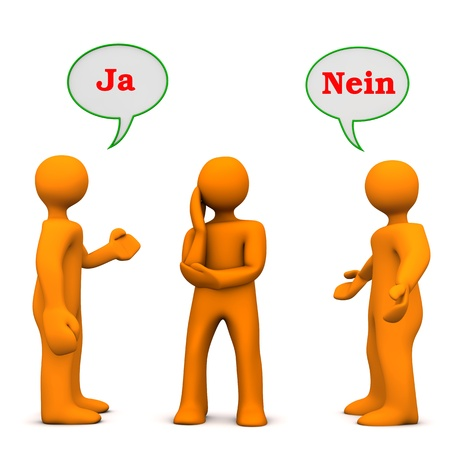 persuasion: Orange cartoon characters with german text ja and nein, translate yes and no. Stock Photo