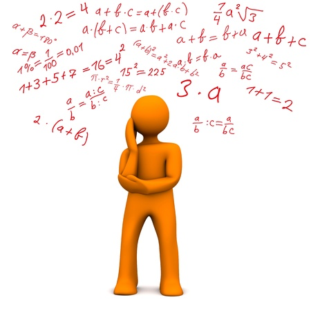 calculations: Orange cartoon character with maths formally. White background.