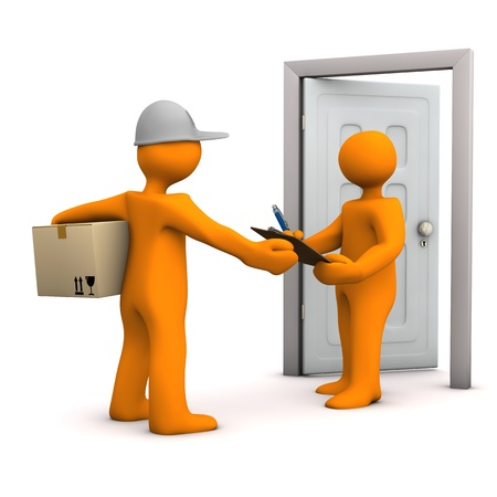 haulage: Two orange cartoon characters with parcel and door. White background. Stock Photo