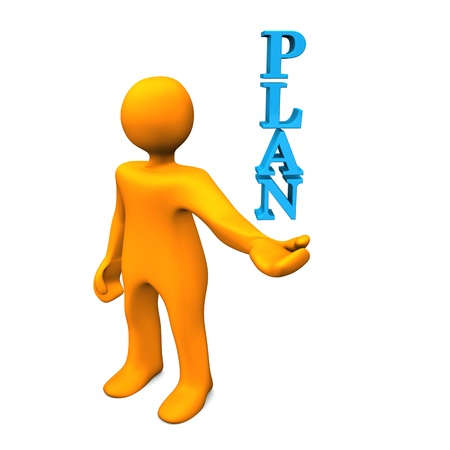 conceiving: Orange cartoon character have a plan. White background.