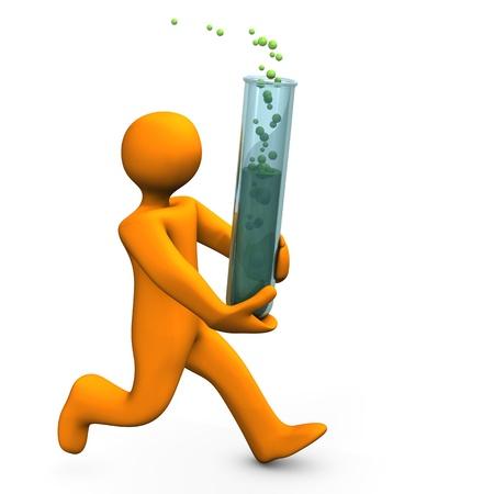 assay: Orange chemist runs with test tube. White background. Stock Photo