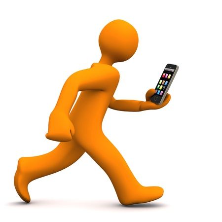 smart phone woman: Orange cartoon character runs with a smartphone. White background. Stock Photo