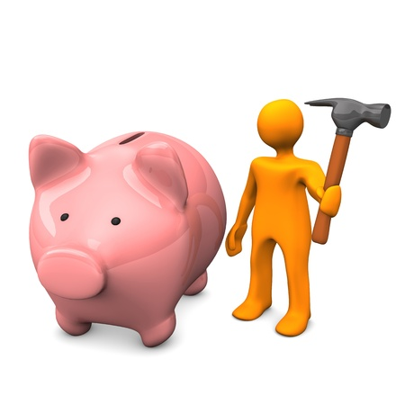 Orange cartoon character with hammer and pink piggy bank. Stock Photo